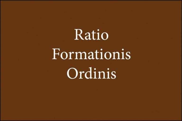 È uscito il terzo capitolo della Ratio formationis ordinis